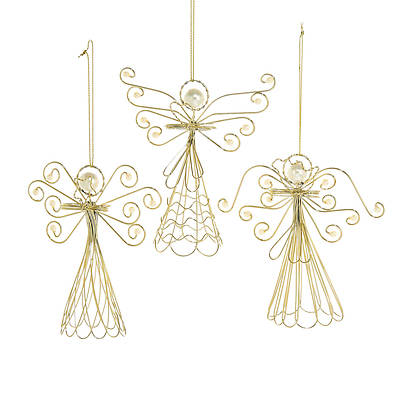 Gold Wire Angel With Pearls Ornaments 4