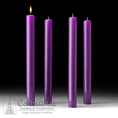 """Picture of Cathedral 51% Beeswax Advent Candle Set 16"""" X 1-1/2"""" - 4 Purple"""
