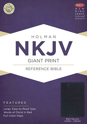 Picture of NKJV Giant Print Reference Bible, Black Genuine Leather Indexed