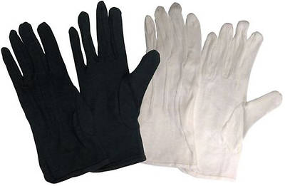 Cotton Performance without Plastic Dots Handbell Gloves - Black, X-Small