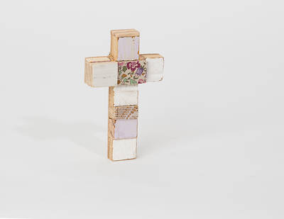 Multi-color Wood Cross - Small