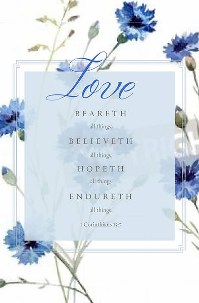 Love Beareth All Things 1 Corinthians 13:7, KJV Wedding Regular Size Bulletin