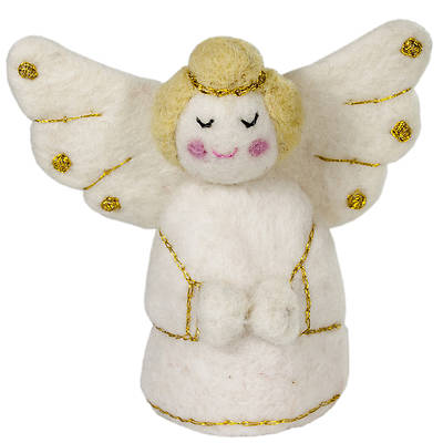 Gold and White Felt Angel Ornament