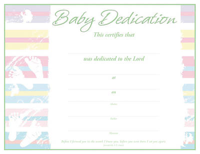 Jeremiah 1:5/Baby Dedication Flat Certificate (Package of 6)