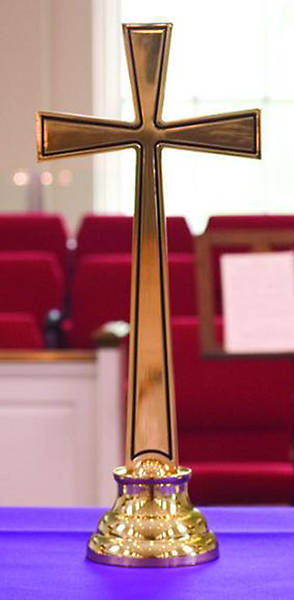 Cross, Altar, Contemporary Alleluia Solid Brass, 20
