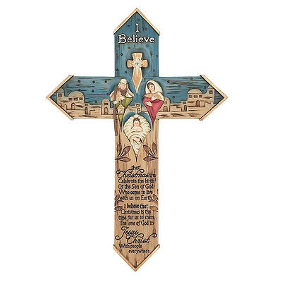 Resin Wall Cross - I Believe 10.25