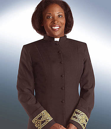 Picture of Qwick-Ship Linette Women's Clergy Jacket with Tab Collar and Satin Tapestry Fleur Bandings Black - HF609
