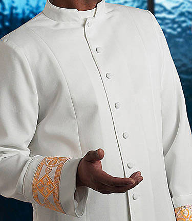 Picture of Qwick-Ship Linette Men's Clergy Jacket with Tab Collar and Wide Cuffs with Fleur Bandings White - HM540