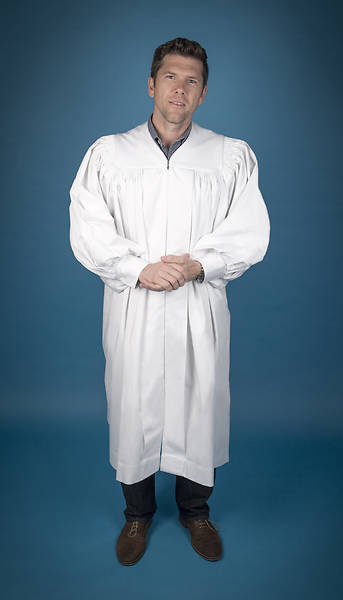 Pastors Baptismal Robe, X-Tall, White, Large