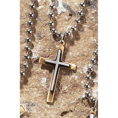 "Picture of 2 Tone Pewter Thin Box Cross Necklace - 24"" Chain"
