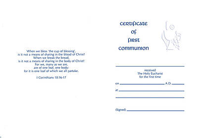 First Communion Certificate #8135 [Pack of 12 w/envelope]