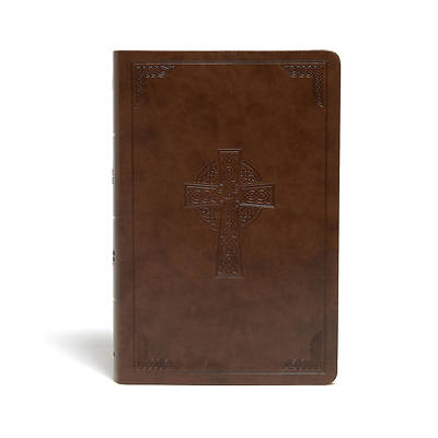 Picture of CSB Large Print Personal Size Reference Bible, Brown Celtic Cross Leathertouch