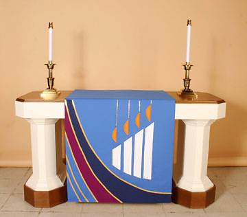 Ascension Series Blue Altar Antependia with Large Advent Candles