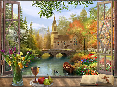 Picture of Autumn Church Frame Jigsaw Puzzle