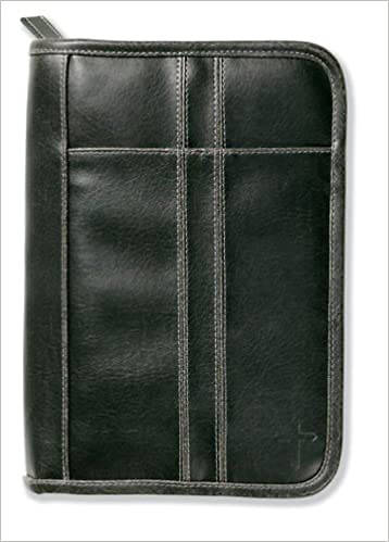 Picture of Bible Cover Distressed Stitching Accent Leather Large Black