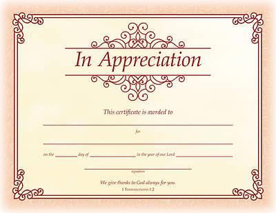 Picture of In Appreciation Certificate