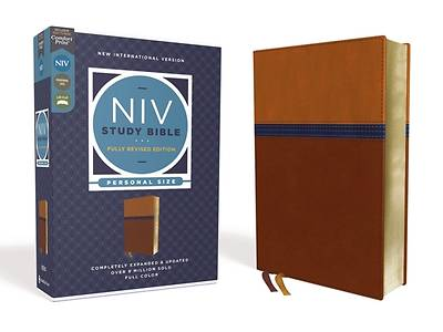 Picture of NIV Study Bible, Fully Revised Edition, Personal Size, Leathersoft, Brown/Blue, Red Letter, Comfort Print