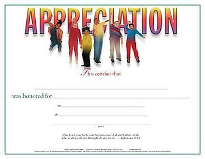 Certificate of Appreciation, Childrens Teacher, Leader, or Helper (Package of 6)