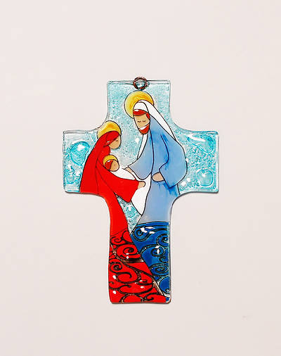 Mary and Joseph Medium Glass Cross