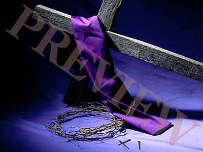 Download Still Cross, Crown of Thorns, Nails with Purple Background
