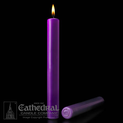 "Picture of Cathedral Purple 51% Beeswax Altar Candles - 1-1/2"" x 16"""