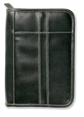 Bible Cover Distressed Leather with Stitching Accent Large Black