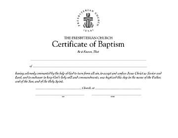 Picture of Presbyterian Baptism Certificate