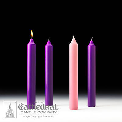 """Picture of Cathedral Advent Candle Set 12"""" X 1-1/2"""" - 3 Purple, 1 Rose"""
