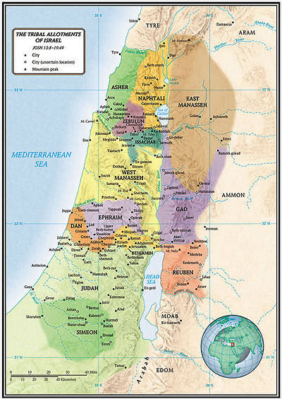 Picture of The Tribal Allotments of Israel map