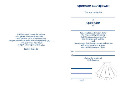 Embossed Sponsor/Godparent Certificate #8166 [Pack of 12 w/envelope]
