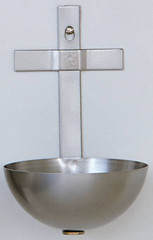 """Picture of Koleys K14 5"""" Stainless Steel Holy Water Font"""