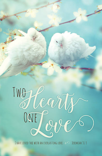 Picture of Two Hearts One Love Wedding Regular Size Bulletin
