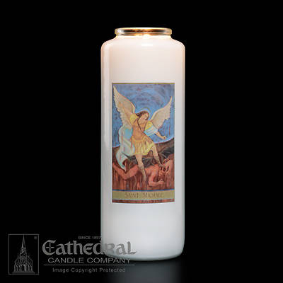 Picture of St. Michael 6-Day Glass Prayer Candle