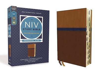 Picture of NIV Study Bible, Fully Revised Edition, Personal Size, Leathersoft, Brown/Blue, Red Letter, Thumb Indexed, Comfort Print