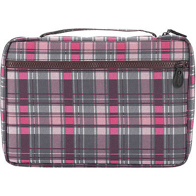 Gray & Pink Plaid Bible Cover - XL