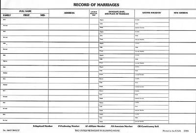 Record of Marriages (Pkg of 50)