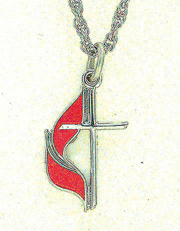 United Methodist Cross & Flame Sterling Silver Pendant With Chain