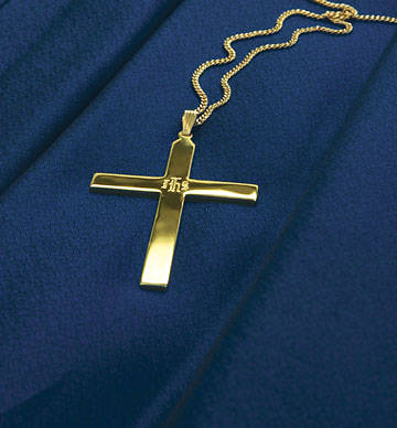 Clergy Cross, IHS Gold-Plated with Chain