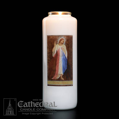 Picture of Divine Mercy 6-Day Glass Prayer Candle