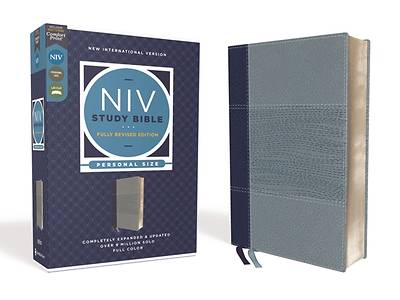 Picture of NIV Study Bible, Fully Revised Edition, Personal Size, Leathersoft, Navy/Blue, Red Letter, Comfort Print