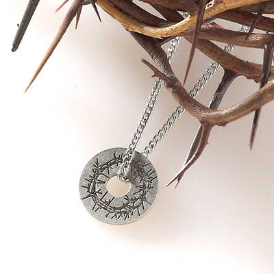 "Crown of Thorns Pewter Necklace, 24"" Chain"