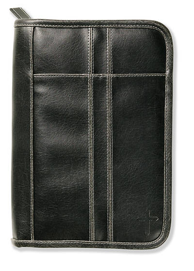 Distressed Leather Extra Large Black with Stitching Accent Bible Cover