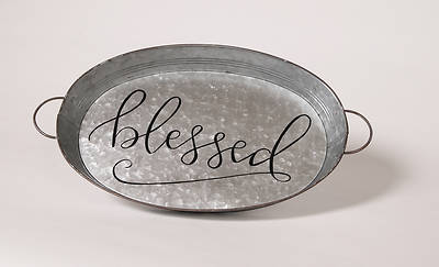 "Metal ""Blessed"" Tray 18""H"