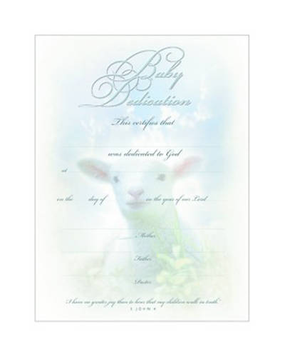 Picture of Certificate Baby Dedication-Premium Silver Foil Embossed Package of 6