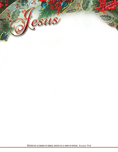 Christmas Jesus Letterhead Isaiah 9:6 KJV (Package of 100)