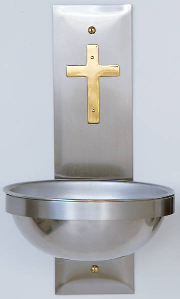 Picture of Koleys K149 Holy Water Font Stainless Steel w/ Solid Brass Cross