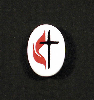 Lapel Cross and Flame Oval White Enamel Pin