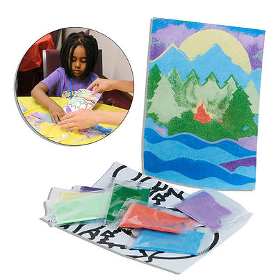 Vacation Bible School (VBS) 2018 Rolling River Rampage River Sand Art Craft Kit (Pkg of 12)