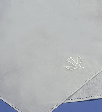 Picture of Baptismal Napkin Embroidered with a Dove