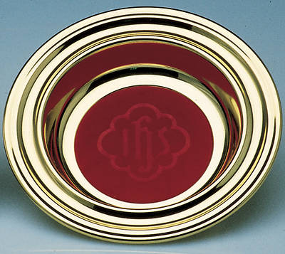 Solid Brass Offering Plate with Red IHS Mat